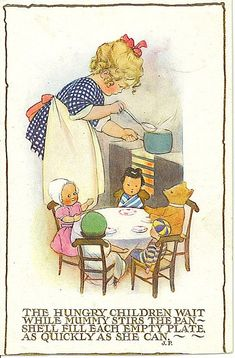 "Vintage Postcard ""The Hungry Children Wait ."" ~ Illustrated by Susan Beatrice Pearse British Illustrator of Children's Books . Images Vintage, Art Vintage, Look Vintage, Vintage Children's Books, Vintage Pictures, Vintage Cards, Vintage Postcards, Vintage Prints, Vintage Nursery"
