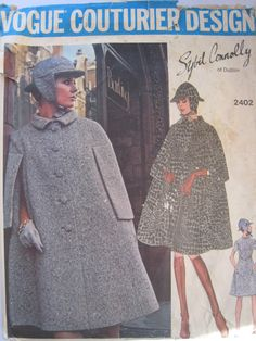 VCD 2402 Sybil Connolly of Dublin Dress Cape Hat Sz14/36/38 Fitted A Line dress with shaped standing collar, has short sleeves, pockets in side front seams & V shaped front flat with button trim.Skirt front is slightly gathered above waist line.A Line cape has bias rolled collar & front button closing. Flaps extend to side back concealing armhole openings.Hat has front & vack visors