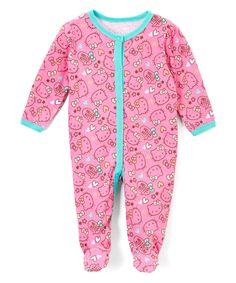 Look what I found on #zulily! Hello Kitty Pink & Turquoise Hello Kitty Footie - Infant by Hello Kitty #zulilyfinds