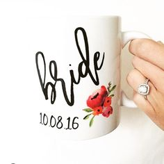 bride custom floral coffee mug