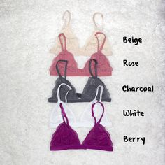 THESE+ARE+A+FINAL+SALES+ITEM.  These+bralettes+run+small,+please+see+below+for+size+references.    The+cutest+lace+bralette+featuring+a+floral+design+and+scalloped+trim.+This+lace+bralette+has+adjustable+straps,+hook/eye+closures+at+back.+Stretch+fabric,+UNLINED.+Perfect+paired+with+a+deep-cut+ta...