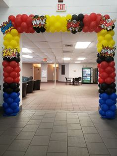 Superhero Balloon Arch for Birthday Party or Superhero Event Superhero Party Decorations, Balloon Decorations, Balloon Arch, The Balloon, Superhero Balloons, Event Planning, Wedding Planning, Cupcake Shops, Pony Party