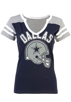67e8bfaf4 Dallas Cowboys T-Shirt - Navy Blue Grey Cowboys Adell Short Sleeve Tee
