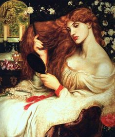 Dante Gabriel Rossetti, Lady Lilith, oil on canvas, x cm, Delaware Art Museum Dante Gabriel Rossetti, John Everett Millais, Renaissance Kunst, Dark Moon, Pre Raphaelite, Old Paintings, Gods And Goddesses, Woman Painting, Oeuvre D'art