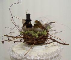 Wedding Cake Topper-Black Cap Chickadees and Twig Nest- bird cake topper by sugarplumcottage on Etsy https://www.etsy.com/listing/119673569/wedding-cake-topper-black-cap-chickadees
