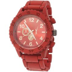 Extreme Xtreme Women's Metal Red Case and Strap Watch ($18) ❤ liked on Polyvore featuring jewelry, watches, red, red jewelry, analog wrist watch, red dial watches, red wrist watch and snap jewelry
