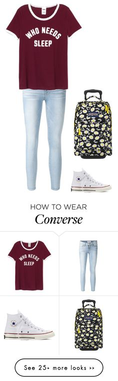 """""""✈️"""" by christineewart on Polyvore featuring Frame Denim, JanSport and Converse"""