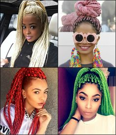 Black Women Colourful Box Braids Hairstyles 2017 | Hairstyles 2016, Hair Colors and Haircuts