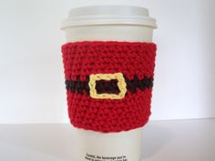 Santa Coffee Cup Cozy / Crochet Cotton Cup Sleeve by amieq on Etsy, $3.50