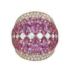 Pink Sphere Ring with natural pink sapphires and white diamonds by Baenteli