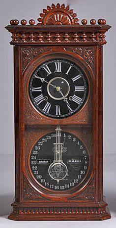 Calendar Clock Ithaca Belgrade Double Dial Ash Wall