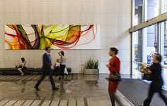 Acoustic panels for echoy hallwaus.Custom design WhisperArt® at 175 Pitt Street, Sydney Acoustic Panels, Commercial Design, Sage, Sydney, Custom Design, Street, Fabric, Projects, Painting