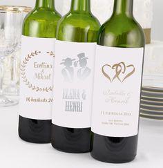 Hääjuhlan pöydissä saattaa olla useita erilaisia pulloja esim. vesi-, olut- ja v...