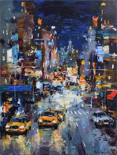 Buy Night City Street - Original urban landscape painting, Oil painting by Anastasiya Valiulina on Artfinder. Discover thousands of other original paintings, prints, sculptures and photography from independent artists.