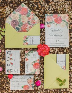 Such pretty, happy floral wedding invitations.