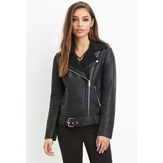 Forever 21 Faux Shearling Moto Jacket (2,565 PHP) ❤ liked on Polyvore featuring outerwear, jackets, forever 21 jacket, sherpa jacket, motorcycle jacket, sherpa fleece jacket and biker jacket