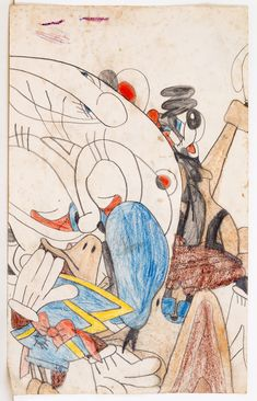 """Susan Te Kahurangi King, """"Untitled"""" (1958-1961), crayon on paper, 13.25 x 8.25 in (courtesy of Chris Byrne and Marquand Books)"""