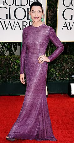 Gorgeous, simple purple gown on Julianna Margulies.  Love the turquoise earrings.