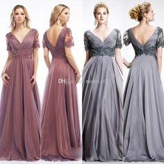 Wholesale Mother of the Bride Dresses - Buy 2014 Gray Plus Size Mother of the Bride Dresses A-Line V-Neck Backless Short Sleeve Formal Evening Dresses Floor Length Chiffon Gowns Cheap, $123.55   DHgate