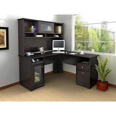 Bush Cabot L Shaped Computer Desk with Hutch in Espresso Oak ...