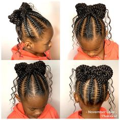Side Bun with Double Loose Braid - 40 Two French Braid Hairstyles for Your Perfect Looks - The Trending Hairstyle Little Girl Braid Styles, Kid Braid Styles, Little Girl Braids, Black Girl Braids, Braids For Kids, Girls Braids, Lil Girl Hairstyles, French Braid Hairstyles, Kids Braided Hairstyles