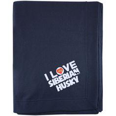 I Love My Siberian Husky - Embroidered Sweatshirt Blanket