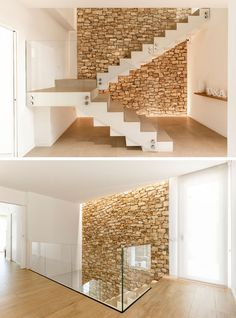 Contrasting Materials Were Used On The Exterior Of This Contemporary House In Spain An accent stone wall has also been included inside this modern home, creating a natural backdrop for the staircase. Railing Design, Staircase Design, Railing Ideas, Stair Railing, Diy Stair, White Staircase, Railings, Modern House Design, Modern Interior Design