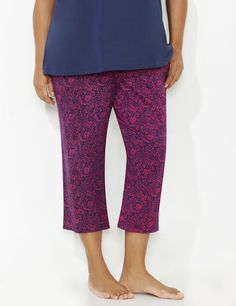 Parisian Paisley Sleep Capri | Catherines  Be chic while you sleep with our fun sleep capri. Comes complete with an allover paisley print. Pairs perfectly with our Pardon My French Sleep Tee or Bold Basics Sleep Tee. Elastic waist. Side pockets. For your comfort, Catherines sleepwear has been made specifically for the plus size figure. #catherines #catherinesplus #plussize #plussizesleepwear #pajamas