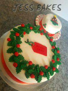 Christmas wreath cake by Jess Bakes www.jessbakes.net