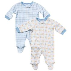 The Organic Cotton Boy's Long-Sleeve Footies by Gerber features a frontal zipper closure with built-in feet to keep your little one warm and cozy. Includes one footie in stripes and another with adorable animal motifs. Organic Baby Clothes, Baby Boy Outfits, Warm And Cozy, Boy Or Girl, Organic Cotton, Rompers, Boys, Long Sleeve, Fashion