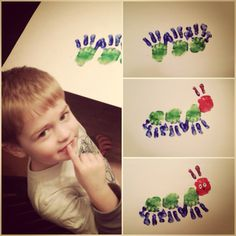 Very hungry finger paint caterpillar! We will have to do this, because it's Caleb's favorite book.