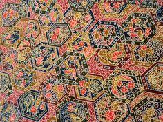 Japanese Vintage Kimono Silk Red Brown Black Flower Good Condition P112908   eBay
