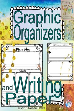 Graphic Organizers for Kindergarten are stylish thinking and writing aids. Cute, artistic, and rigorous – perfect for engaging your kids in a lesson and for display. Differentiate for student needs. T-Charts, Webs, Booklets, and writing paper for ELA and Math.