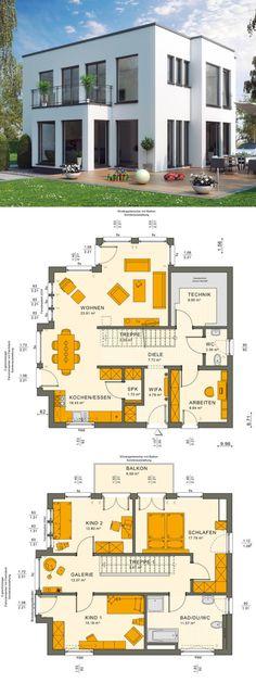 Bauhaus Stadtvilla modern mit Flachdach Architektur, Wintergarten Erker & Galerie - Einfamilienhaus bauen Grundriss Ideen Fertighaus Sunshine 144 V7 Living Haus - HausbauDirekt.de