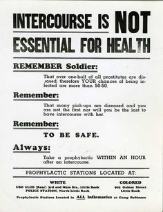 "☞ ☆☆☆ ""Intercourse Is NOT Essential For Health"" ~ Most lonely soldiers would beg to differ.WWII poster about the health dangers of sex."