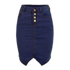SheIn(sheinside) Buttoned Fly Denim Pencil Skirt - Blue ($13) ❤ liked on Polyvore featuring skirts, bottoms, navy, short skirts, stretch pencil skirt, summer skirts, navy blue knee length skirt and stretchy pencil skirt
