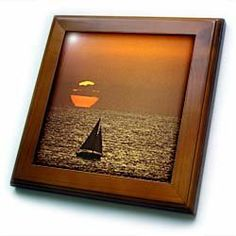 """A sailboat at sunset in California - US05 DFR0202 - David R. Frazier - 8x8 Framed Tile by 3dRose. $22.99. Solid wood frame. Keyhole in the back of frame allows for easy hanging.. Dimensions: 8"""" H x 8"""" W x 1/2"""" D. Cherry Finish. Inset high gloss 6"""" x 6"""" ceramic tile.. A sailboat at sunset in California - US05 DFR0202 - David R. Frazier Framed Tile is 8"""" x 8"""" with a 6"""" x 6"""" high gloss inset ceramic tile, surrounded by a solid wood frame with pre-drilled keyhole for easy wall m..."""