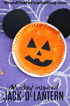 Paper Plate Mickey Inspired Jack-O-Lantern Kid Craft Idea - Disney Fall Themed Craft