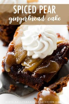 This boldly spiced upside-down pear gingerbread cake combines your favorite holiday spices with juicy pears, brown sugar caramel sauce, and cool whipped cream. Serving warm brings out the flavors AND makes this a quick holiday dessert. Köstliche Desserts, Holiday Baking, Christmas Desserts, Christmas Baking, Delicious Desserts, Holiday Meals, Fall Baking, Brownies, Baking Recipes