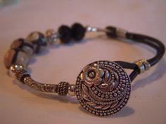 Leather and silver wrap braceletdyed agate by Lisalousfancybeads, $20.00