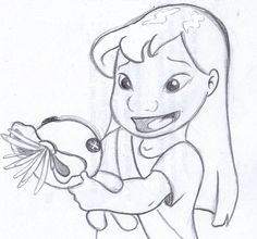 """disney sketch - """"This is Scrump."""" lilo and stitch"""