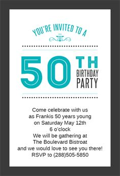 Classic 50th Birthday Party printable invitation template. Customize, add text and photos. Print, download, send online or order printed!