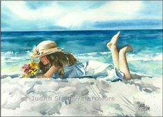Girl in Straw Hat Lounging on Beach, White Dress, Seashore, Children Watercolor…