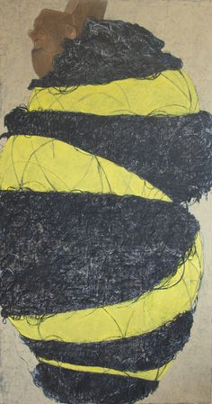 """Yellow I, 68""""X36"""" Oil and Paper on Canvas, 2013 (Private Collection) - Mequitta Ahuja"""
