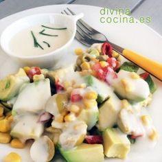 Salsa ranch o ranchera americana - Divina Cocina Salsa Bechamel Recetas, Kiss The Cook, Vinaigrette, Fruit Salad, Chowder, Salad Recipes, Potato Salad, Dips, Soup