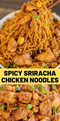 Spicy Sriracha Chicken Noodles – ready to eat in 15 minutes! No joke! SO easy! Only 6 ingredients – Chicken, ramen noodles, brown sugar, soy [. Ramen Recipes, Spicy Recipes, Asian Recipes, Chicken Recipes, Dinner Recipes, Cooking Recipes, Healthy Recipes, Noodle Recipes, Cooking Food