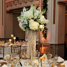 White, romantic crystal tall centerpiece