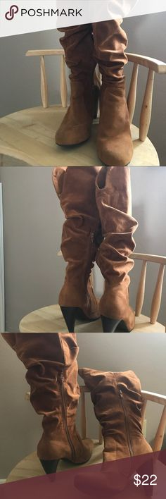 """Brown knee high boots Slouchy brown knew high heel boots. 3.5"""" high heel. Size 9, worn but good condition. Broke my ankle and cant wear taller than 2"""" anymore :/ Shoes Heeled Boots"""