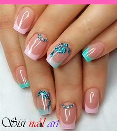 French Nail Art Ideas - Pink and blue green French tips. Paint on attractive nail polish coats for your French tips and add French Nail Art Ideas - Pink and blue green French tips. Paint on attractive nail polish coats for your French tips and add - Best Nail Art Designs, Beautiful Nail Designs, Gel Nail Designs, Nails Design, Awesome Designs, French Tip Nail Art, French Manicure Nails, French Tips, French Polish