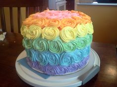 Rainbow cake (inside and out) for a Noah's Ark themed baby shower (for a girl). Baby Shower Brunch, Baby Shower Cakes, Baby Shower Themes, Shower Ideas, Rainbow Food, Cake Rainbow, Rainbow Baby, Noahs Ark Party, Rosette Cake